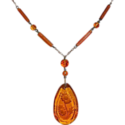Art Deco Czech Amber Glass Etched Floral Drop Necklace