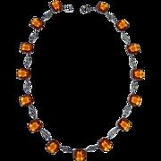 Art Deco Amber Glass Jewel & Filigree Link Necklace