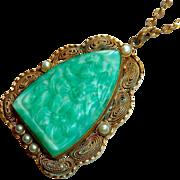 Art Deco Filigree Brass Pendant Floral Peking Glass