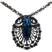 Peacock Eye Foil Glass Jewel Silvertone Filigree Pin/Pendant
