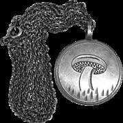 Sterling Hand Engraved Mushroom Pendant & Chain