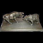 SOLD Bull & Bear Stock Market Sculptural Paperweight