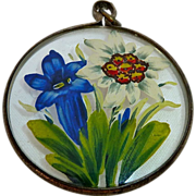 SOLD Reverse Hand Painted Fob Pendant Edelweiss & Bell-Flower
