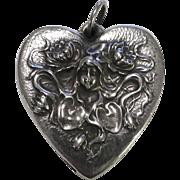 SALE Henryk Winograd 999 Repousse Silver Heart Art Nouveau Woman