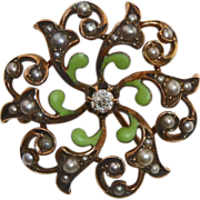 Antique Victorian Watch Pin Diamond Seed Pearls Enamel