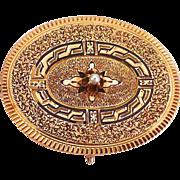 Victorian 14k Rose Gold Watch Pin Engraved & Enameled