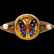 Victorian 14k Pin Enameled Butterfly Rose Cut Diamonds