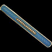 Antique Edwardian 14k Enamel Seed Pearl Bar Pin
