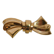 Art Deco Coro Gilt Brass Stylized Bow Pin c1930s