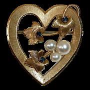 SALE Krementz Gold Filled Heart Pin Cultured Pearls & Sapphire Blue Jewels