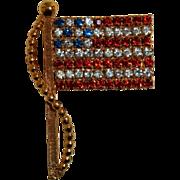 Patriotic US American Flag Pin Red White Blue Rhinestones