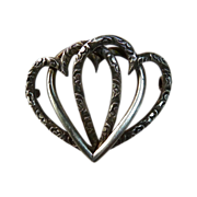 SALE Victorian Sterling Entwined Triple Heart Antique Pin
