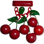 Art Deco Dangling Bakelite Cherries Celluloid Leaves Pin