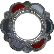 Sterling Silver Scottish Agate Brooch Circle Pin