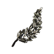 Vintage Regency White & Gray Japanned Leaf Pin