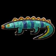 Sterling Enamel Colorful Dinosaur / Iguana Pin