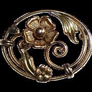 Carl Art Rose & Yellow GF Floral Pin