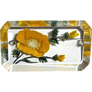 Reverse Carved Lucite Yellow Wild Rose Flower Pin
