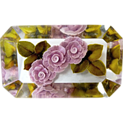 Reverse Carved Lucite Triple Lavender Roses Flower Pin