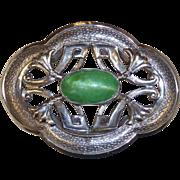 Art Nouveau Sash Ornament Brooch Pearly Green Cab