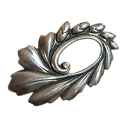 Viking Craft Sterling Art Nouveau Style Swirling Leaf & Buds Pin