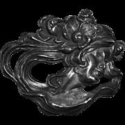 Superb Victorian Sterling Art Nouveau Woman Pin