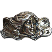 Victorian Art Nouveau Sterling Woman Fairy Pin