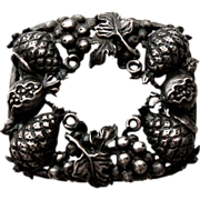 Early Cini Figural Sterling Fruit Pin Grapes Pineapple Pomegranate