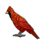 Sterling Silver & Enamel Cardinal Bird Pin