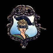 Victorian Sterling & Guilloche Enamel Mardi Gras Souvenir Pin