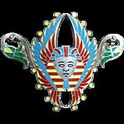 Egyptian Revival Sterling Enamel Winged Pharaoh Head Pin