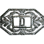 Sparkling Art Deco Sterling Silver & Marcasite D Initial Pin