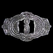 Glittering Art Deco Sterling Silver & Marcasite Fancy Script P Initial Pin