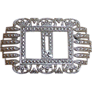 Sparkling Art Deco Sterling & Marcasite Q Initial Pin