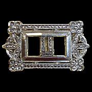 Art Deco Sterling & Marcasite U Initial Pin