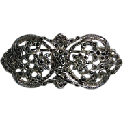 French Art Deco Sterling & Marcasite Layered Pin