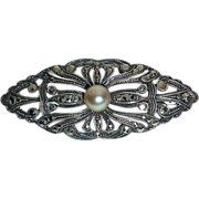 Art Deco Sterling & Marcasite Pin w Pearl