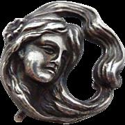 Antique Art Nouveau Sterling Woman Watch Pin