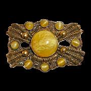 Victorian Revival Gilt Brass Filigree Pin Lemon & Pearl Art Glass