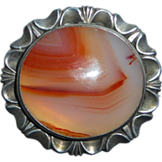 Antique Victorian Sterling Agate Pin/Pendant