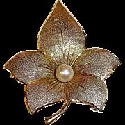 Rare Vintage Designer 14k Rose, Green & Yellow Gold Flower Pin w Cultured Pearl