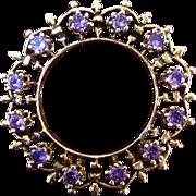 Vintage 14k Amethyst Scalloped Circle Pin/Pendant