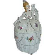Victorian Revival Woman w Parrot Porcelain Powder Jar