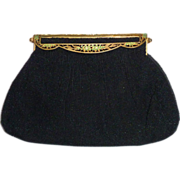Black French Beaded Evening Purse Fancy Jeweled Frame