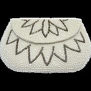 Vintage Faux Pearl Clutch Purse Bugle Bead Design