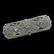 Art Deco 14k White Gold Filigree Diamond Brooch