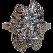Art Deco 14k White Gold Diamond Star Ring