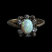 Antique Opal & Mine Cut Diamond 10k Ring