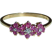 Delicate 10k YG Ring Three Ruby Flowers Diamond Centers
