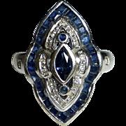 Art Deco 14k White Gold Dinner Ring Sapphire & Diamonds